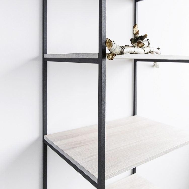 Regał slott - półki dąb bielony - stalowa konstrukcja czarny matowy lakier strukturalny - detal łączenia półki z konstrukcją