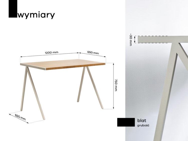Wymiary drewnianego biurka elg w stylu skandynawskim