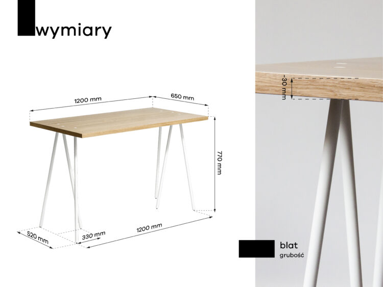 biurko drewniane skog wymiary