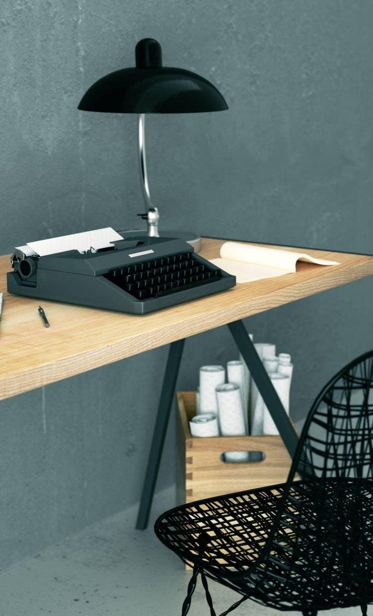Biurko w stylu minimalistycznym elg dąb naturalny czarny lakier
