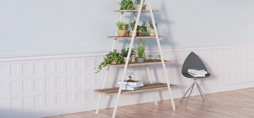 regał bakke w aranżacji z krzesłem i roślinkami