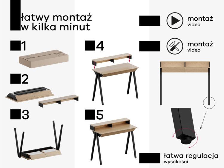 Łatwy montaż biurka drewnianego vogel s z nadstawka