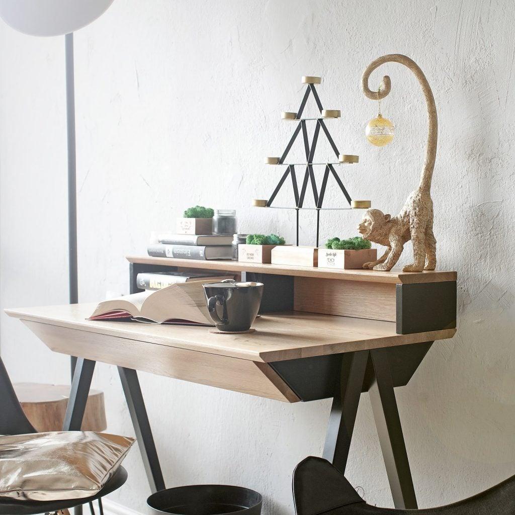 Biurko drewniane czarne z szufladami vogel S z nadstawka