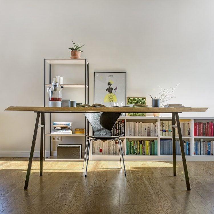 aranżacja stołu north z blatem z litego drewna