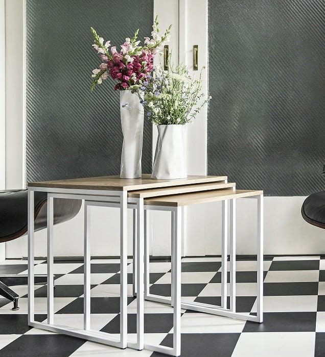 stolik kawowy spill trio z kwiatkami