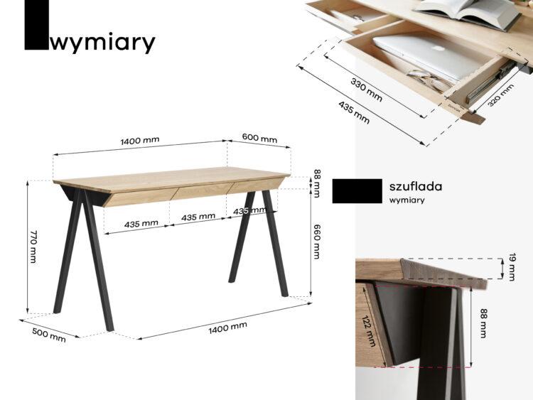 wymiary drewnianego biurka vogel
