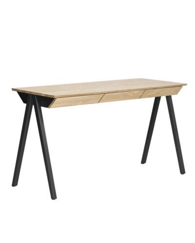 biurko drewniane vogel m w stylu skandynawski, czarne drewniane nogi