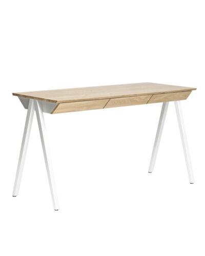 biurko drewniane vogel m białe drewniane nogi, naturalny dębowy blat