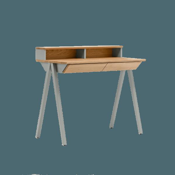 biurko drewniane vogel S szare z nadstawką