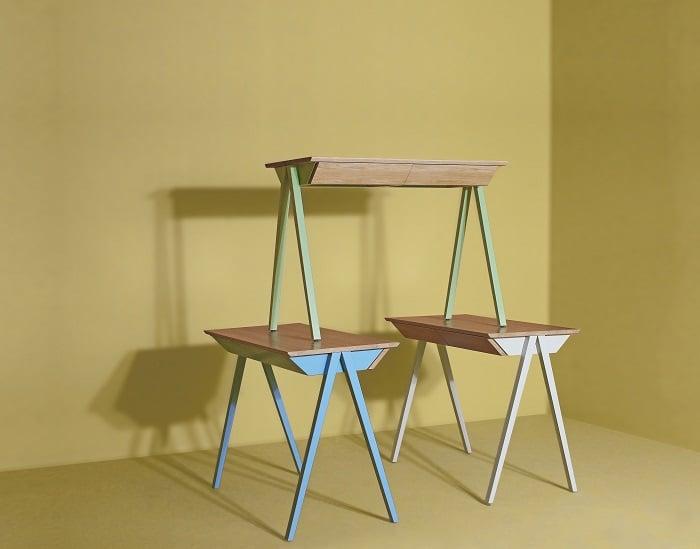kolorowe biurkobiurko miętowe - biurko błękitne - biurko białe