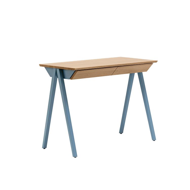 biurko drewniane vogel S błękitne w stylu skandynawskim z szufladami