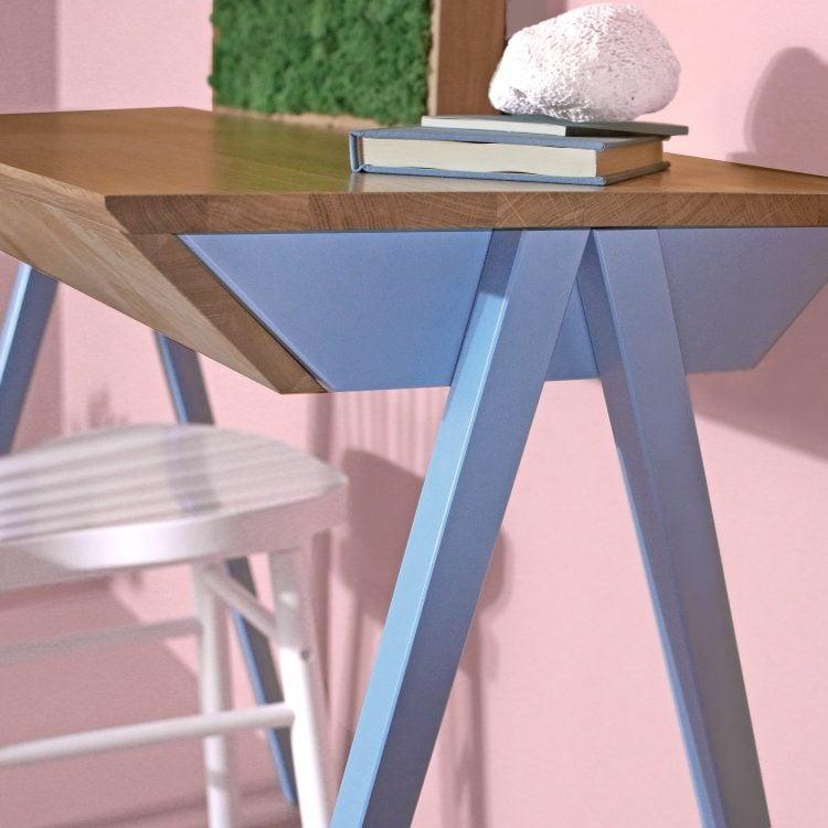 Kolorowe biurko drewniane vogel S błękitne