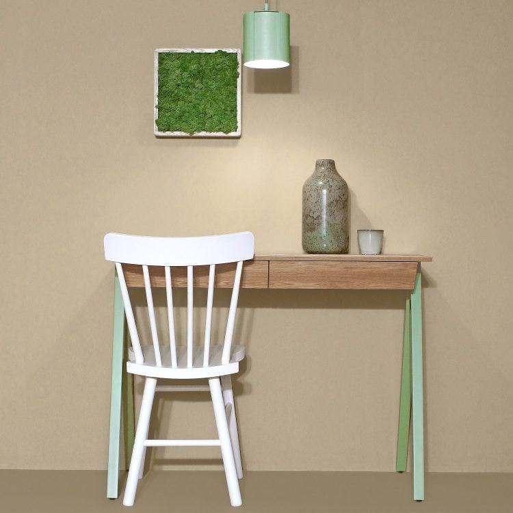 Biurko drewniane vogel S kolor miętowy - przód biurka