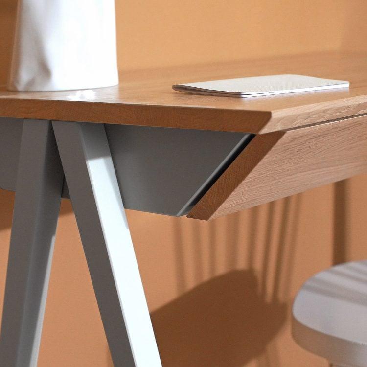 Szare biurko drewniane biurko vogel S - lewy bok biurka