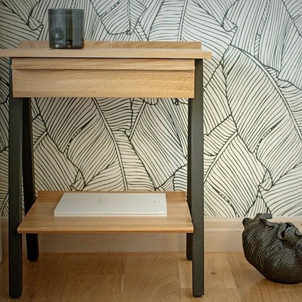 Designerska szafka nocna z litego drewna troost